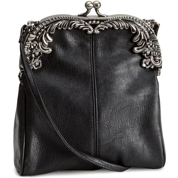 H&M Shoulder bag ($18) ❤ liked on Polyvore featuring bags, handbags, shoulder bags, h&m, purses, black, black purse, h&m purses, shoulder strap purses and clasp purse