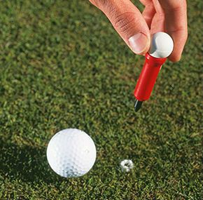 Soft Roll Ball Marker. This unique tool marks your ball without altering the speed or direction of another golf ball rolling over it. Fill the tube with baking soda. A quick push into the green releases a little circle of baking soda and voila! your ball is marked.