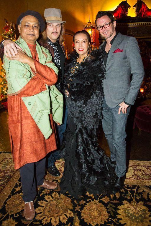 Guru tabla drummer Aloke Dutta, Guns n' Roses keyboardist Chris Pitman, Sue Wong and photographer Angelo Palazzo.