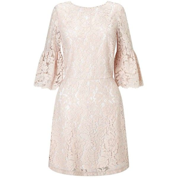 Miss Selfridge Lace Flute Sleeve Dress ($76) ❤ liked on Polyvore featuring dresses, nude, lace dress, miss selfridge, sleeved dresses, miss selfridge dresses and nude lace dress