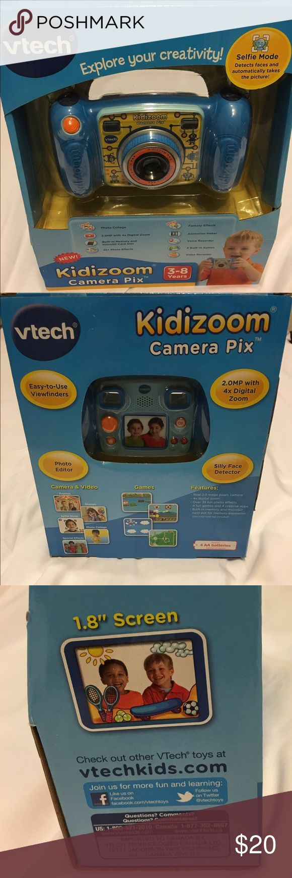 Vtech Kidizoom Camera Vtech Kidizoom Camera 3-8 years Never opened- brand new!  Photo collage, 2.0 MP with 4x Digital Zoom, built in memory and microSD card slot, 35+ photo effects, fantasy effects , animation maker, voice recorder, 4 built in games, video recorder!  Even has a selfie mode! vtech Accessories