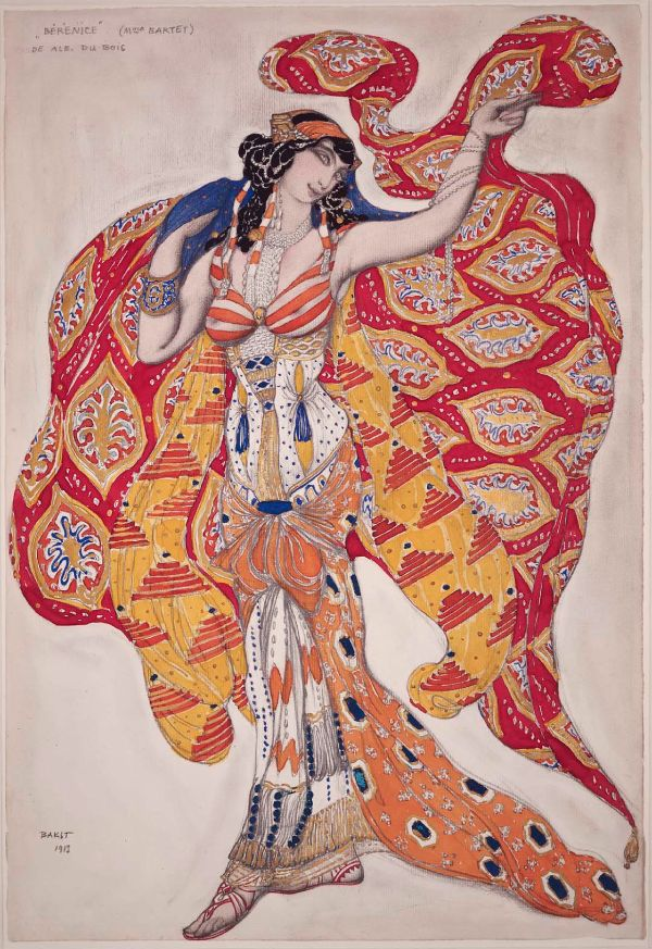 Costume design by Léon Bakst (1866-1924), 1913, Madame Bartet as Bérénice, Opaque and transparent watercolor, gold paint, and graphite pencil.