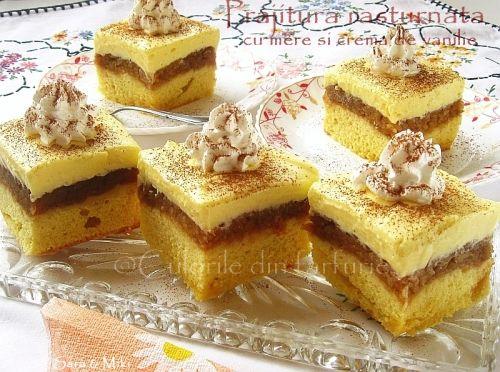 Prajitura rasturnata cu mere si crema de vanilie ~ Culorile din farfurie