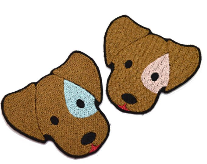 Girl and Boy dog Iron On  Applique Embroidered Patches Machine Embroidery Design for dog -lover