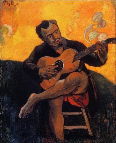 Paul Gauguin, IL CHITARRISTA, 1900, 90 cm x 72 cm, Colore ad olio, collezione privata