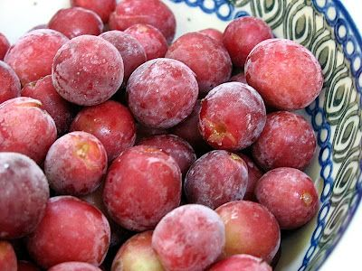 Frozen grapes covered with jello, tastes like candy when watching your weight, just use sugar free jello!  super easy to make.