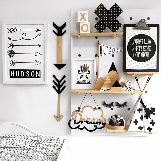 Black & White Nursery Decor - tribal & woodland