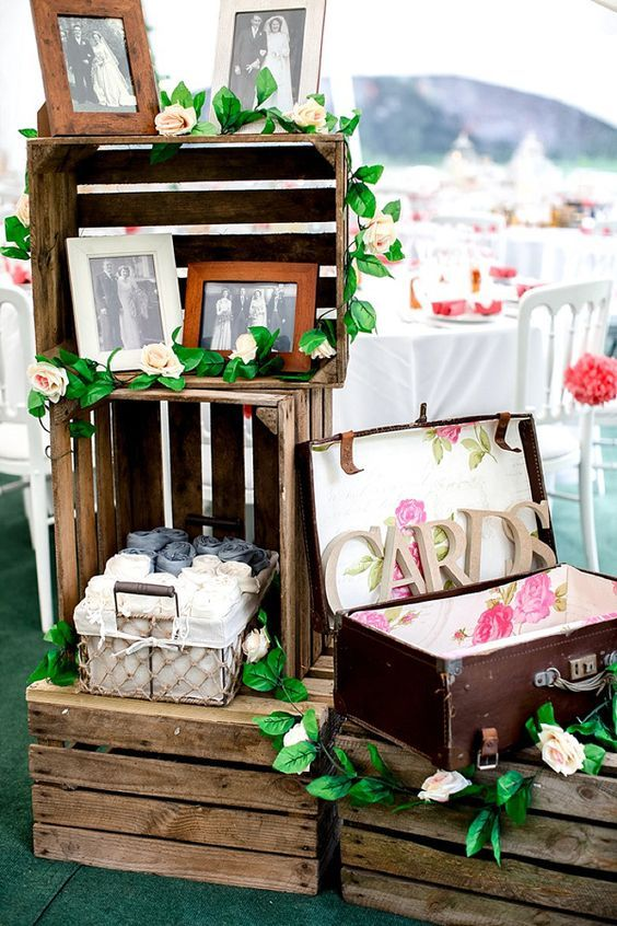 Romantic Rustic Lakeside Wedding Crates Photographs / http://www.deerpearlflowers.com/country-wooden-crates-wedding-ideas/3/