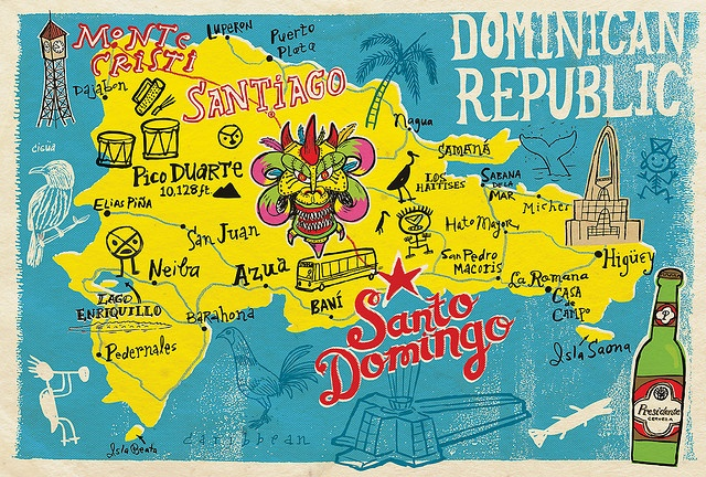 Dominican Republic Map by Illustrator John Coulter. Love the colours and fonts. Wish I had a poster of this. And wish I could go and visit..