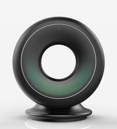 Check this out on leManoosh.com: #Black #Circle #dock #Electronics #Gradient #Green #Grid #LED #Mesh #Smart Assistant #Speakers #User Interface