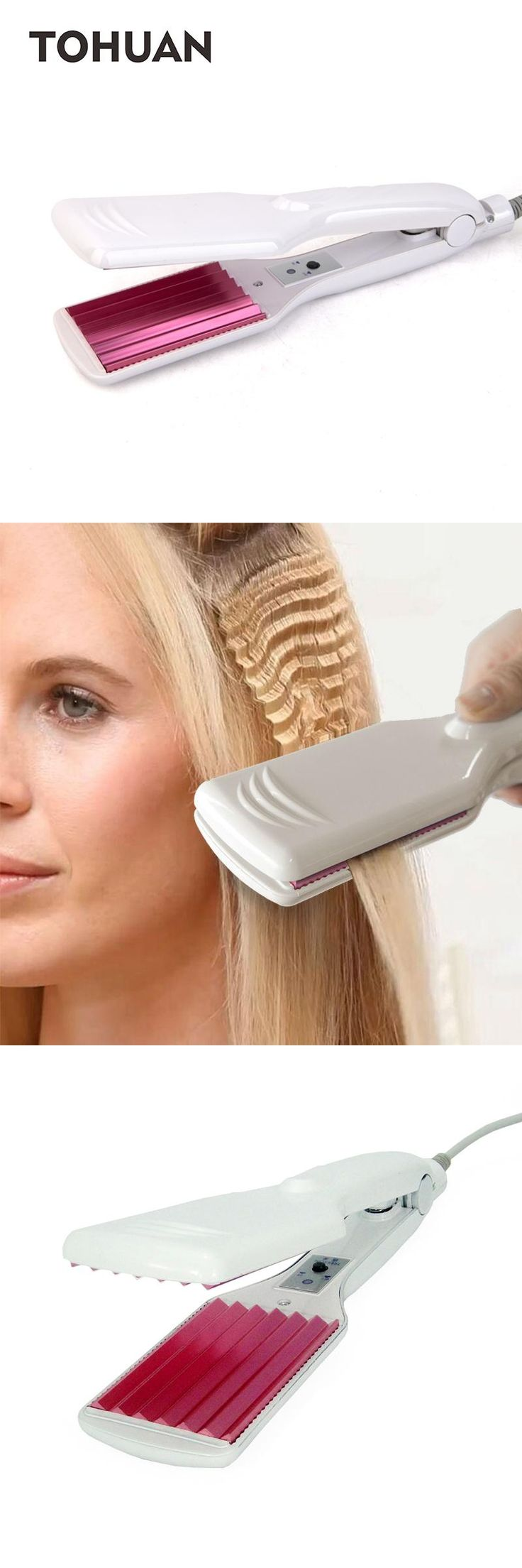 [Visit to Buy] Hot corrugated iron hair straightener iron crimped hairstyle Electronic chapinha corrugation flat irons wave styling tools #Advertisement