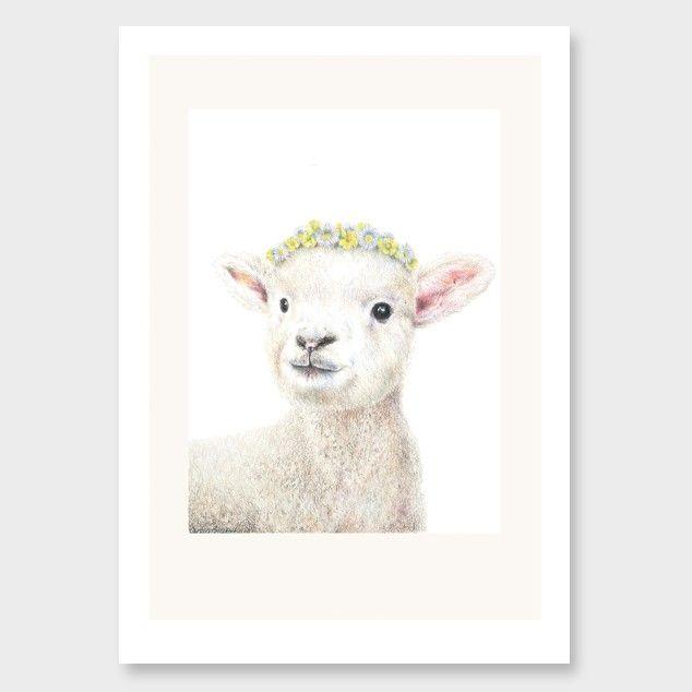 Buttercup Lamb Art Print by Olivia Bezett NZ Art Prints, Design Prints, Posters & NZ Design Gifts | endemicworld