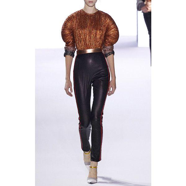 Haider Ackermann     Leather Leggings ($1,570) ❤ liked on Polyvore featuring pants, leggings, black, high-waisted leggings, high-waisted leather pants, high waisted leggings, high-waisted trousers and leather leggings