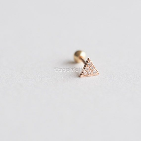 14K Solid Rose Gold Barbell Cartilage,Geometric Tragus Ear Piercing,Triangle Cartilage Earring,Single Earring,Screw Back,Helix earring_PG006