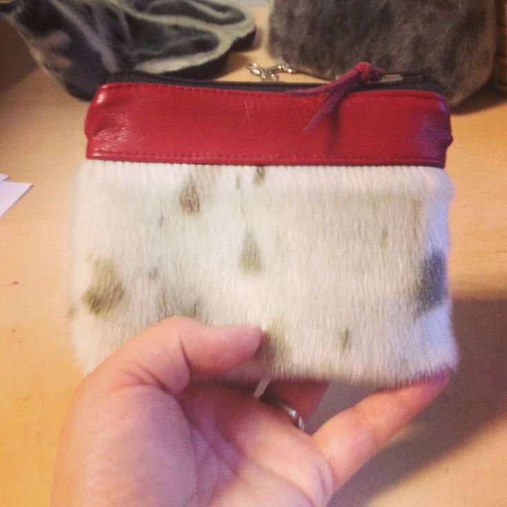 Seal skin zippered pouch with red, Italian leather by Tundraberry