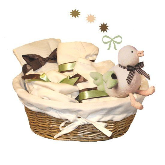 So soft, so luxurious...this baby gift basket is filled with certified organic cotton layette items and a sweet birdie plush toy made from super soft, sustainable bamboo fabric.  Our organic baby gift basket features baby products produced in an environmentally friendly manner. They are beautifully made, look and feel good, and are good for baby!Included In Our Luxury Organic Baby Gift Basket:Item Organic Gift Basket  List Price $114.99  Our Sale Price $109.99  Organic Cotton Baby Blanket…