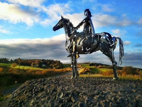 """As part of the Public Art program in Ireland is roadside sculptures. This sculpture of the """"Gaelic Chieftan"""" stands on Ireland's Boyle Bypass"""