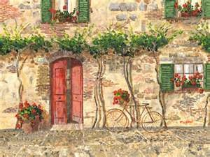 Old Tuscany, an acrylic painting of a typical street scene such as ...