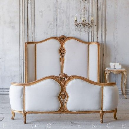Eloquence® Vintage Louis XV Gold Gilt Bed: Circa 1940 $1605.00 #mybellacottage #bedroom #shabbychic