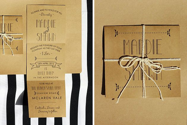 Leo & Ness | Wedding + Event Stationery | Craft Fold out Invitation natural string