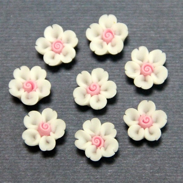 1pc-Volume heart cherry-Koshiro-Polymer Clay DIY Flowers for Earring Pendant Ring 8mm. $0.20, via Etsy.