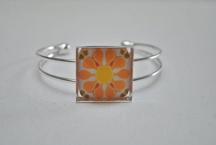 Square bloem armband