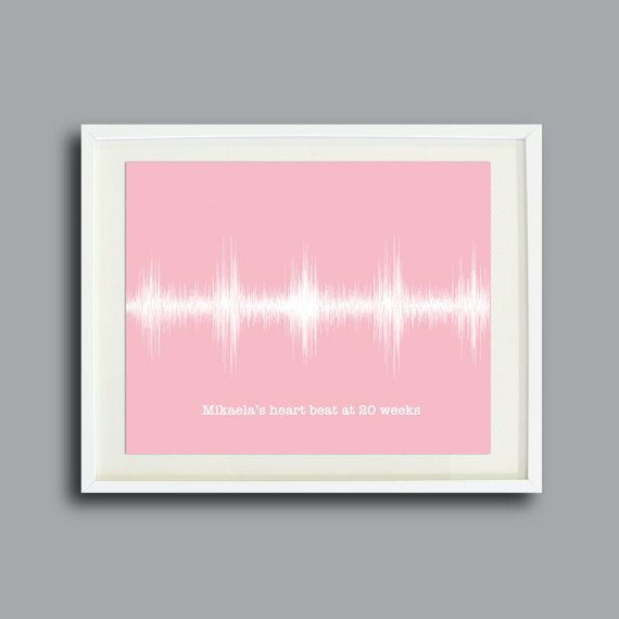 Your Babys Heartbeat Personalized Wall Art Print, Modern Custom Nursery Decor - Baby Girl Pink or Custom Color via Etsy
