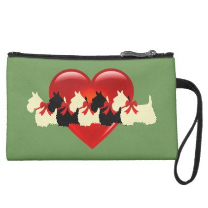 Scottish Terrier black/white red heart/zazle green Suede Wristlet Wallet - heart gifts love hearts special diy