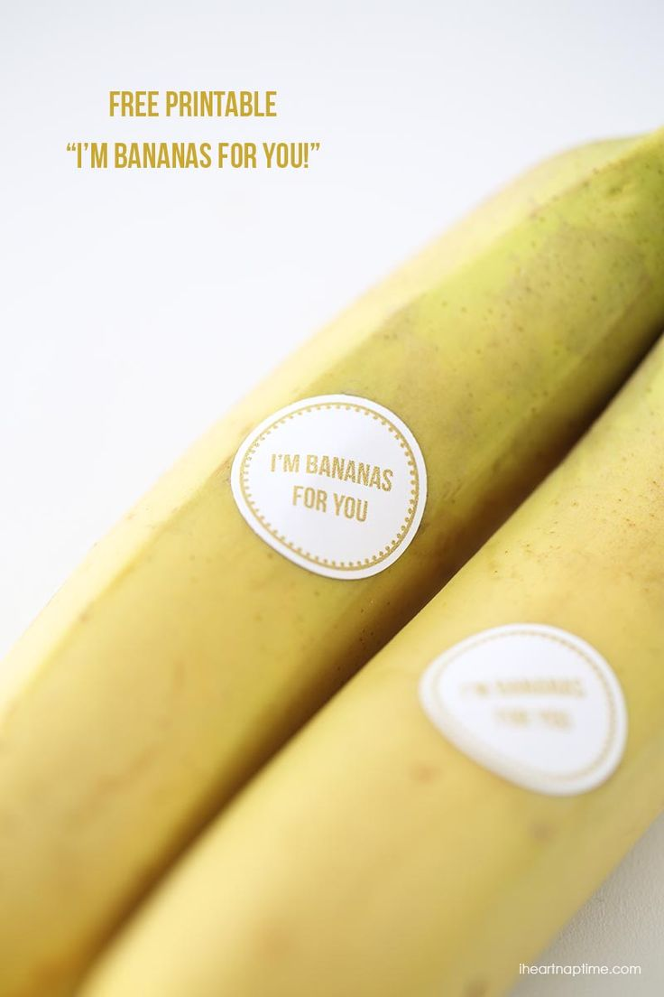 """""""I'm bananas for you"""" free printable on iheartnaptime.com ...cute and easy Valentines idea!"""