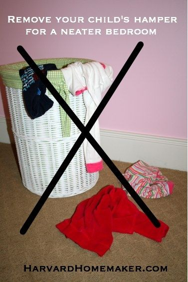 I read this thinking she wasn't serious - but I totally see the wisdom in it now.  Maybe as you go in to say goodnight to each of your children you could have a laundry basket with you.....100+ Ideas to Help Organize Your Home and Your Life