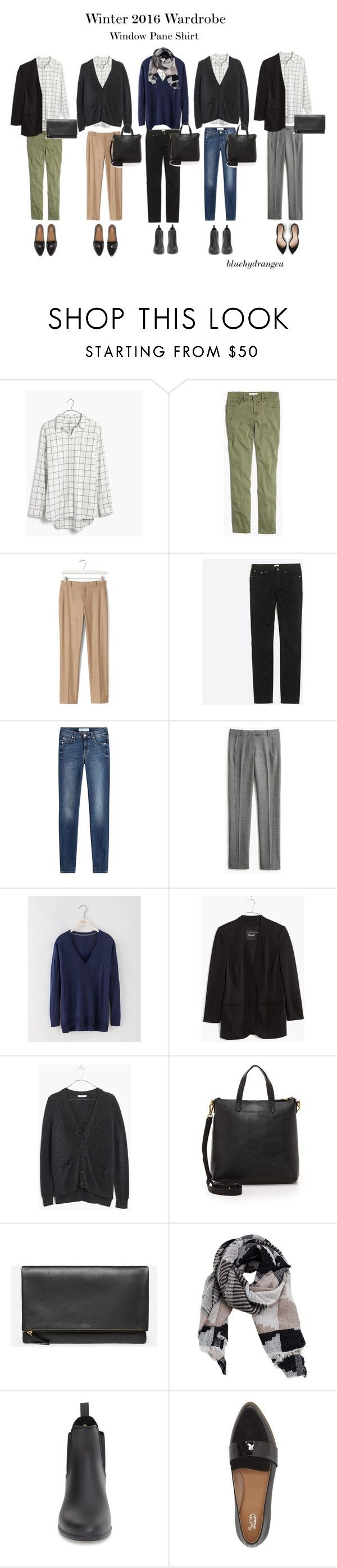 """""""Winter 2016 Wardrobe - Window Pane Shirt"""" by bluehydrangea ❤ liked on Polyvore featuring Madewell, Banana Republic, J.Crew, 7 For All Mankind, Boden, MANGO, Sam Edelman and Dr. Scholl's"""