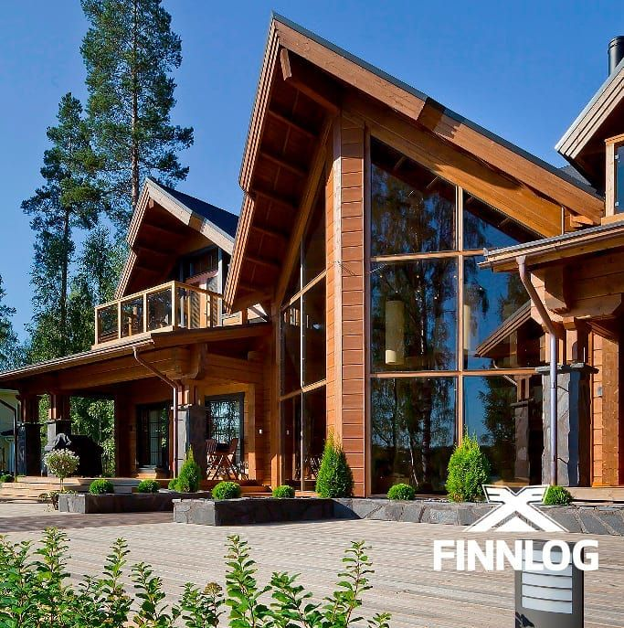 Finnlog Log Houses On Instagram Imagine Enjoying The View From This Log House Facade Terrace Windows Woodenarchitec Log Homes House House Styles