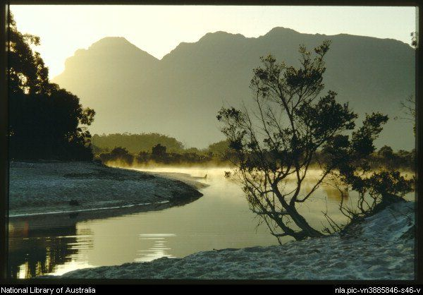 Truchanas, Olegas, 1923-1972 Sunrise on Mount Solitary with Maria Creek in the foreground, Lake Pedder