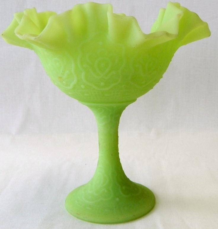 Snap Vintage Fenton Green Satin Custard Glass Dish Vase Bowl Basket