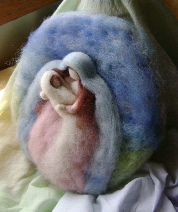 Madonna and Child   Needle felted wool picture  by softearthart, $45.00