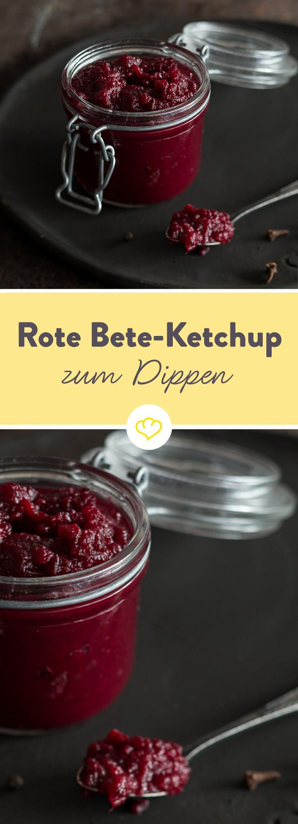 Dieser Ketchup lässt Tomaten einfach mal außen vor. Stattdessen verleiht Rote-Bete dem Dip seine herrlich kräftige Farbe und eine feine Süße.