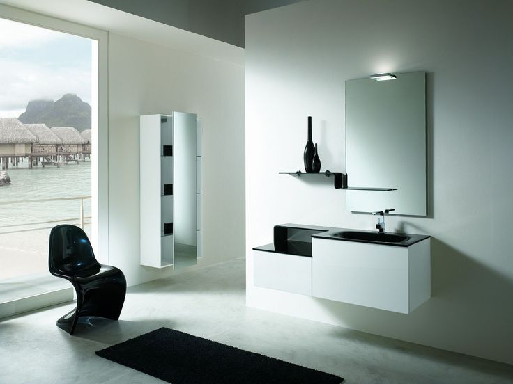 Wonderful Simple And Modern Bathroom Cabinets Piquadro 2 By BMT With White Wall Mirror Washbasin