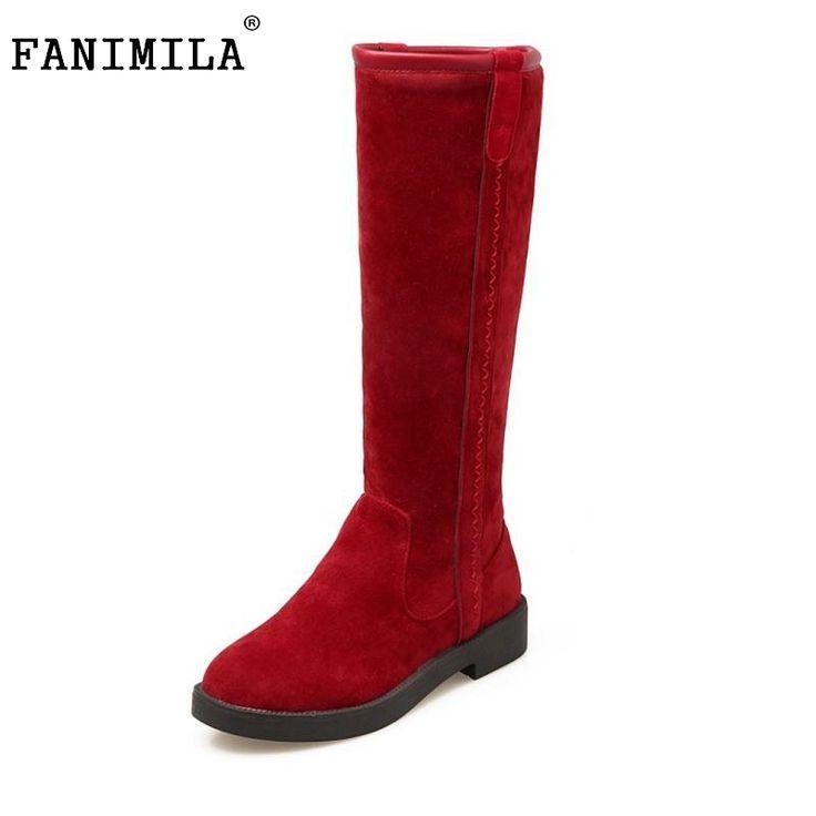 Women Flat Knee Boots Woman Fashion Round Toe Martin Boot Female Comfort Warm Fur Botas Feminina Shoes Woman Size 34-43 #Affiliate