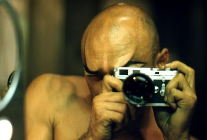 Yul Brynner self portrait with his Leica M3. Yul was a keen photographer and would often be seen with a camera in his hands. Here's a collection of his images on the BBC website. There's also a collected book of his work you can buy.