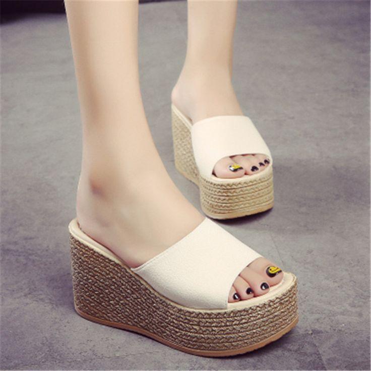 High Heel Slippers Platform Sandals Ladies Wedges Sandals Brand Flip Flops Summer Waterproof Shoes Women Beach. Click visit to buy #WomenHighHeels