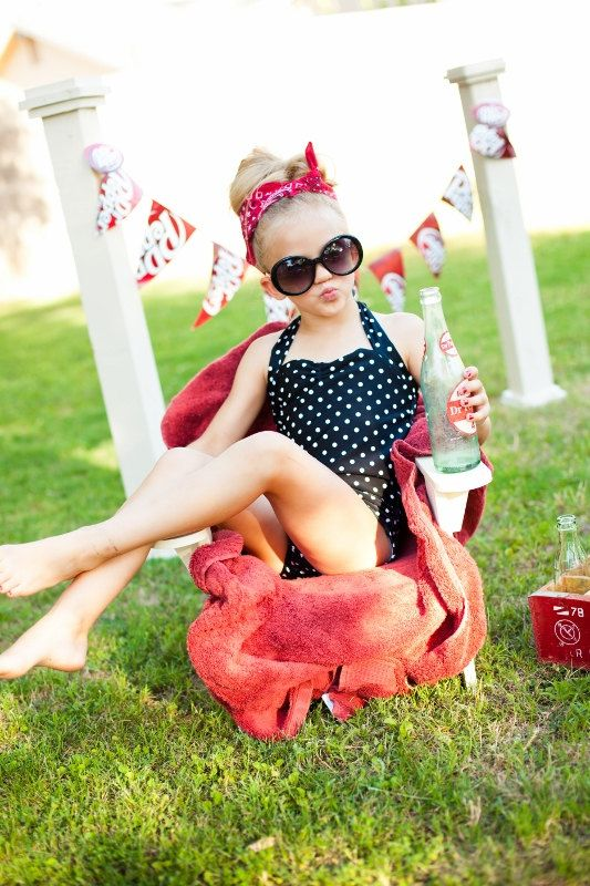 Red and white polka dot Retro one piece girls by RedDollyGirls❤️