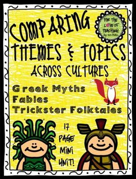 This product is best used for teaching CCSS RL.9. Four mini lesson are included. In these lessons students will: *Be introduced to (or review) topic, pattern of events (plot), and theme. *Compare & Contrast 2 Greek Myths *Compare & Contrast 2 Fables *Compare & Contrast 2 Trickster Folktales http://www.teacherspayteachers.com/Store/Kim-Miller-24