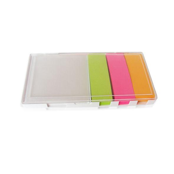 COD.EO022 Memo Set con tapa transparente. Incluye block de hojas blancas. 3 Blocks autoadhesivos de diferente color.
