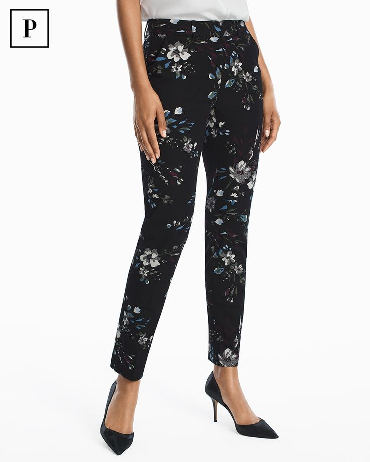 Women's Petite Floral Body-Defining Ankle-Grazing Pants by WHBM