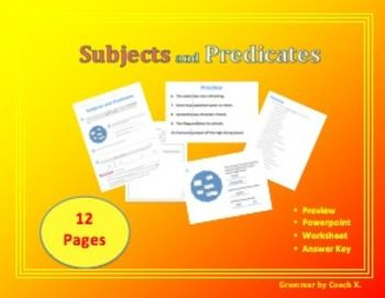 This subjects and predicates worksheet and PowerPoint guides students through a lesson teaching them how to identify the subject side of the sentence and the predicate side of the sentence.   Students will choose words from a word bank to form a sentence, identify the subject and predicate, and practice.