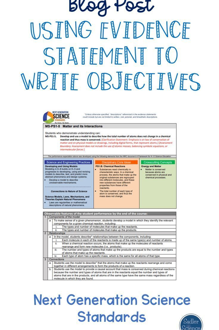 Using Evidence Statements to Write Objectives | NGSS Science