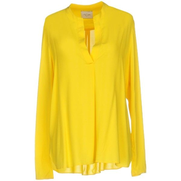 Centoquattro Blouse ($165) ❤ liked on Polyvore featuring tops, blouses, yellow, yellow blouse, long sleeve stretch top, long sleeve blouse, yellow long sleeve top and v neck blouse
