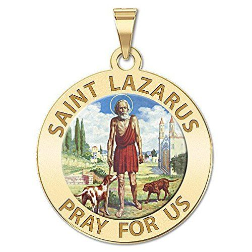 Saint Lazarus Religious Medal Color - Available in Solid 14K Yellow or White Gold, or Sterling Silver