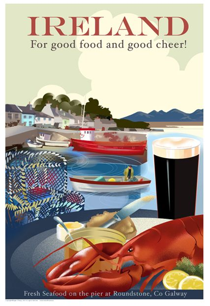 Ireland for good cheer! Roundstone, Co Galway Poster by www.Irelandposters.ie