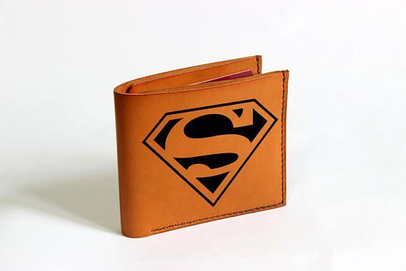Leather wallet Superman wallet Superman gift Superman logo
